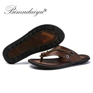 Image 4 - BIMUDUIYU Brand Summer New Arrival Summer Cool Men Flip Flops Rubber Soft Beach Shoes Non slide Mens Slippers Massage Footwear