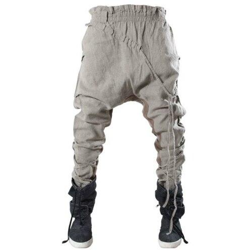 Свободные штаны шаровары в европейском и американском стиле, мужские хлопковые эластичные брюки шаровары