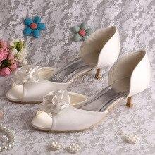 Wedopus Самые Продаваемые Peep Toe Цветок Ручной Работы Обувь Женщина Удобные Низком Каблуке Сандалии Свадебные