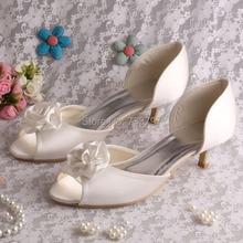 WedopusยอดขายP Eep Toeดอกไม้ที่ทำด้วยมือรองเท้าผู้หญิงส้นเท้าต่ำสะดวกสบายรองเท้าเจ้าสาว