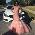 Longos Elegantes Vestidos de Baile 2017 Sexy Sereia Colher Frisada Preto Até O Chão Menina Africano Rosa Prom Vestido de Concurso Vestidos