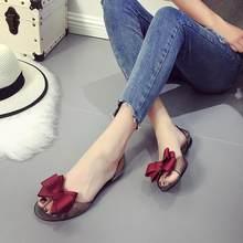 e4102f2d70227e 2018 Summer New Favolook Women Bow Flower Jelly Beach Casual Sandals Flip  Flops Flat Shoes Fashion Clear Sandals Red