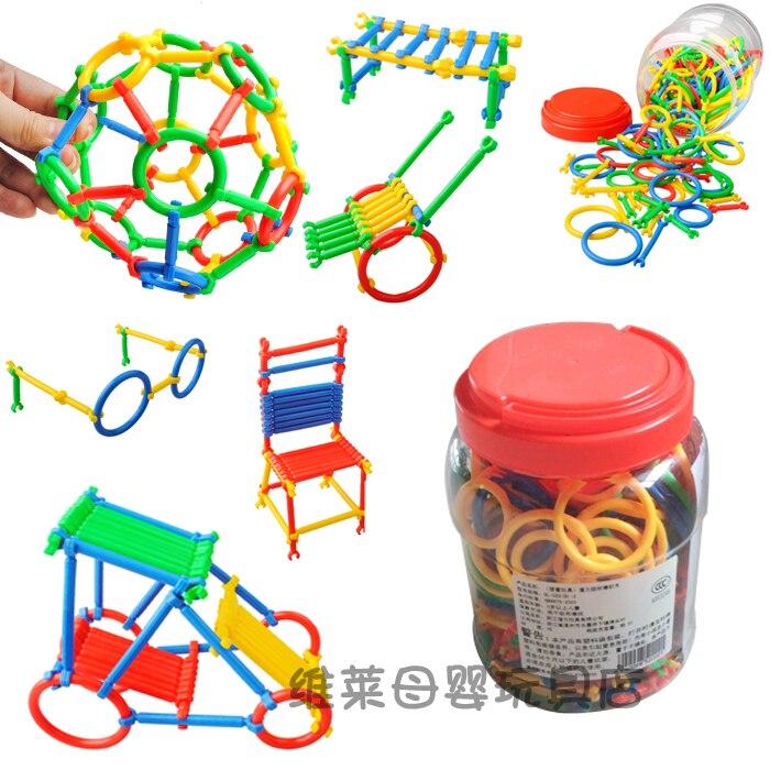Kindergarten Toys Bottled Smart Stick Plastic PE Assembling Building Blocks Toy Free Transform for 3-7 Children Gift