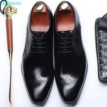QYFCIOUFU Vintage Men Shoes Formal Genuine Leather Business Casual Shoes Men Dress Office Luxury Shoes Male Breathable Oxfords
