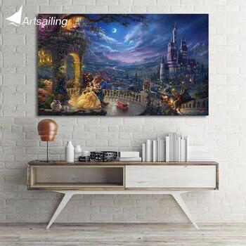 1 шт. холсте HD печати Красота и чудовище Томас Кинкейд картины настенные панно для гостиной Бесплатная доставка UP-1872C