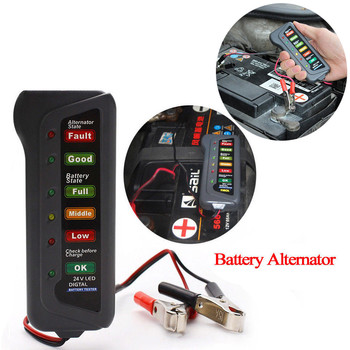 40^6V/24V Cars Motorcycle Batteries Auto Car Digital Battery Alternator Tester 6 LED Lights Display Diagnostic Tool accesorios image