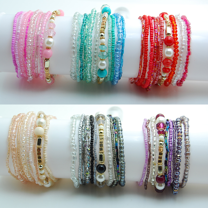 Crystal Charm Beads Bracelets For Women Girls Boho Wedding Jewelry Love Gifts Red Bracelet Set 2018 New Pulseras Femme Bijoux