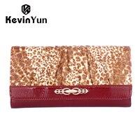 2015 New Luxury Women Wallets Long Genuine Leather Wallet Designer Brand Leopard Purse Ladies Clutch Woman