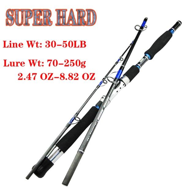 Superhard carbon spinning เรือ jigging lure fishing rod สั้น hard travel stick lure wt: 70 250g wt: 30 50lb สำหรับทะเล