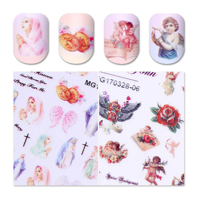 1 Sheet Angel 3D Nail Sticker Love Cupid Jesus 2 Patterns Adhesive ...