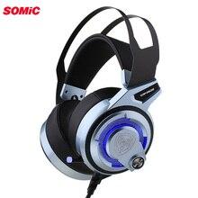 Somic G949DE USB Virtual 7.1 스테레오 유선 게임용 헤드폰, 마이크 소음 제거 LED 조명 헤드셋, 노트북 컴퓨터 PC 용