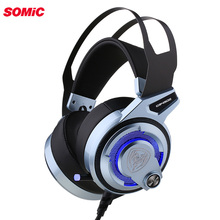 Somic G949DE USB Virtual 7.1 Stereo Wired gaming headphones with Mic Noise Cancelling LED Lights Headset for Laptop Computer PC
