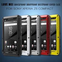 For Sony Z5 Compact Cover 4 6 Inch LOVE MEI Metal Silicone Armored Temered Glass Dropproof
