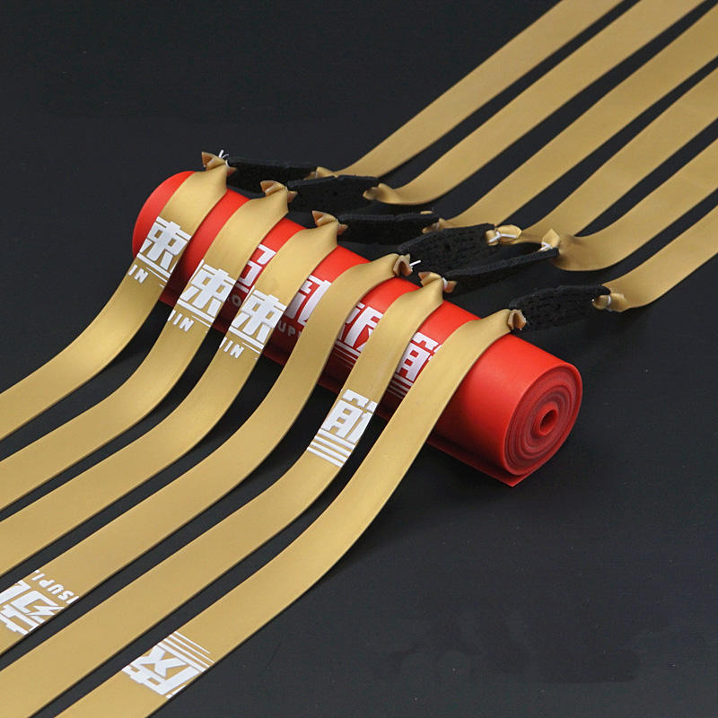 2Pcs 1.0MM Gold Color Slingshot Rubber Bands Use For Hunting Tirachinas Profesional Caza Emulsion Flat Rubber