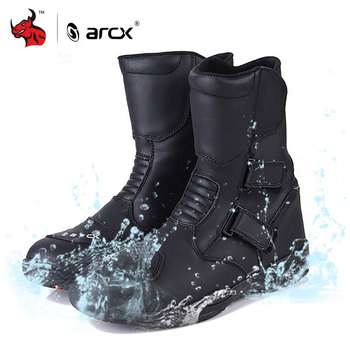 ARCX Motorcycle Boots Men Leather Moto Boots Waterproof Motocross Boots Motorcycle Racing Mid-Calf Shoes Black Motorcycle Shoe arcx motorcycle boots men waterproof botas moto genuine cow leather moto boots motocross boots motorcycle racing mid calf shoes