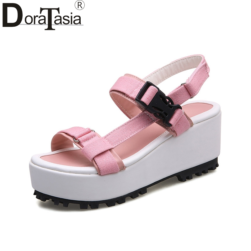 DoraTasia 2018 Summer New Arrival Large Size 33-43 Sweet Sandals Comfortable Cloth Platform Shoes Woman Casual Beach Shoes Lady