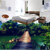 Photo Floor Wallpaper Hanging Wooden Bridge Natural Forest Art Bathroom Mural 3d PVC Wall Paper Self