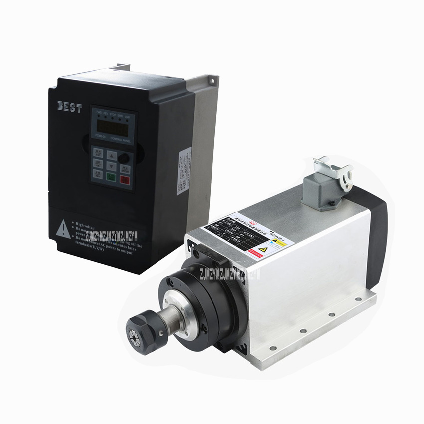 New 3KW 220V / 380V 300Hz AC Motor Air Cooled Electric Spindle ER20 3000W Square Spindle Motor + 220V/3KW 15A Frequency Inverter cnc dc spindle motor 500w 24v 0 629nm air cooling er11 brushless for diy pcb drilling new 1 year warranty free technical support