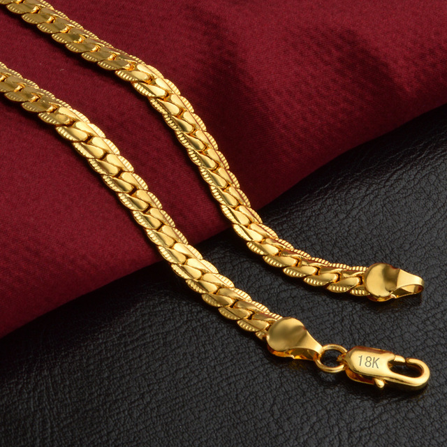 Classic Yellow Gold Color Chain For Men Necklace Fashion Jewelry Wholesale 5 MM Width 50CM Long Snake Chain Necklace 1