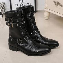 цена на New Mid Calf Punk Shoes Street Fashion Rivets Winter Man Black Boots Buckle Gothic Lace Up Mid Calf Boots Shoes