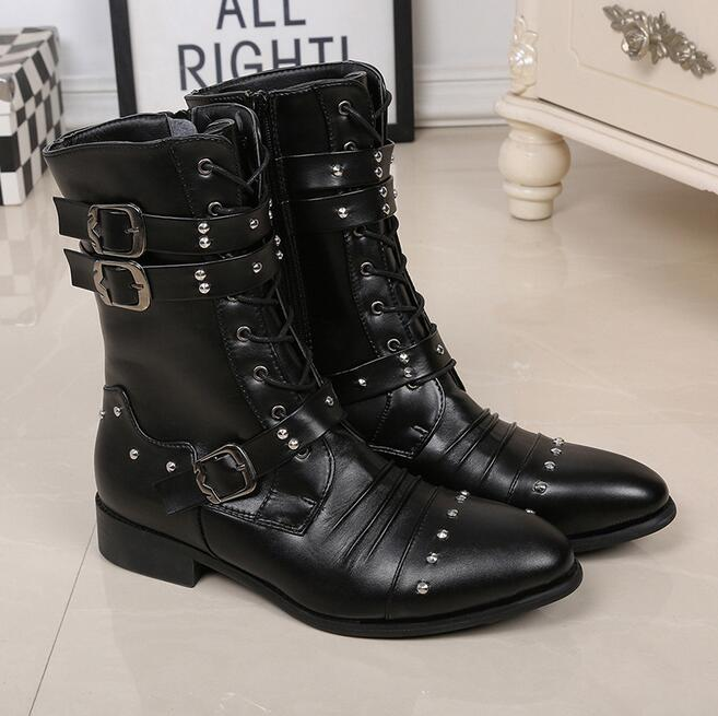 945ad2305f8 Detail Feedback Questions about New Mid Calf Punk Shoes Street Fashion  Rivets Winter Man Black Boots Buckle Gothic Lace Up Mid Calf Boots Shoes on  ...