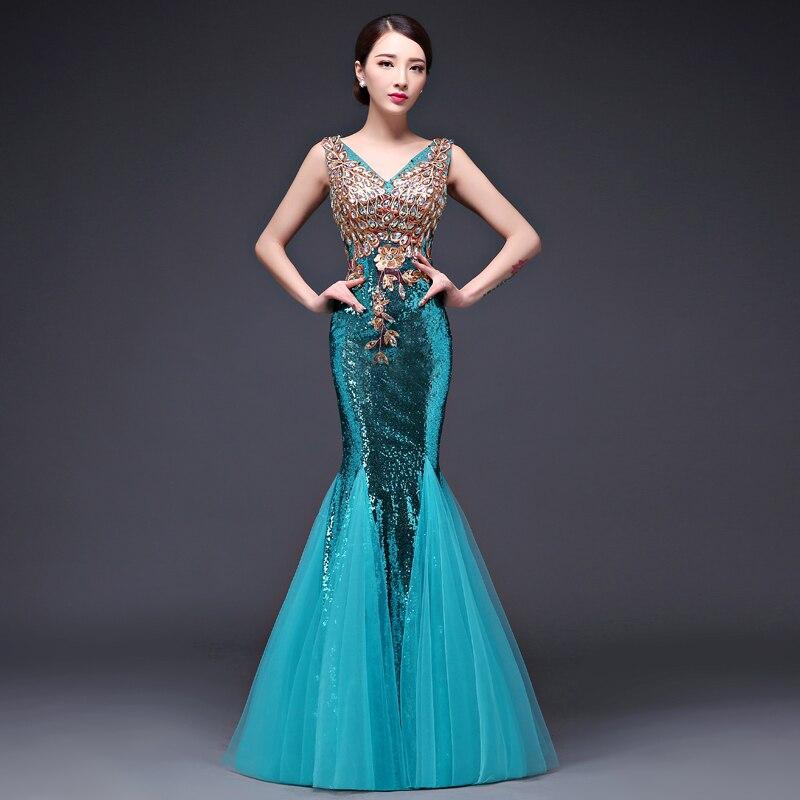 2017 Elegant Diamonds Sequins Slim Fit Sexy Club Party Gown Long Dress Women Luxury V Neck