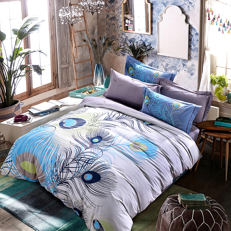 Beautiful Peacock Feather Exotic Bedding Set Queen King