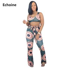 2 Piece Set Sleeveless Crop Top and Pants Wide Leg Trousers with Belt Print Pants Set Ruffle Waist Bodycon Sexy Club Outfit недорого