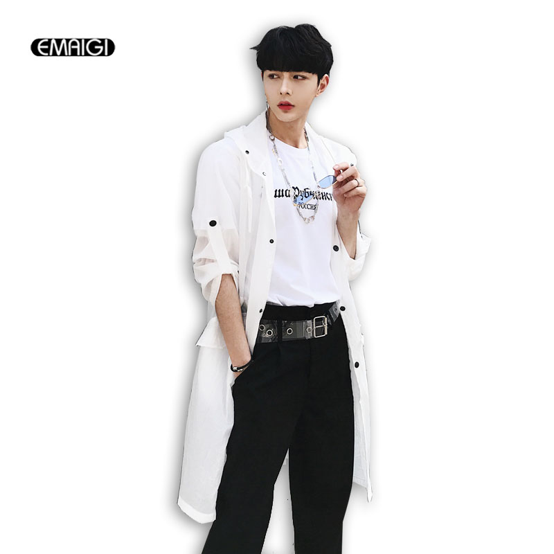 Summer New Men Women Fashion Casual Thin Long   Trench   Coat Male Black White Gray Hooded Cardigan   Trench   Jacket