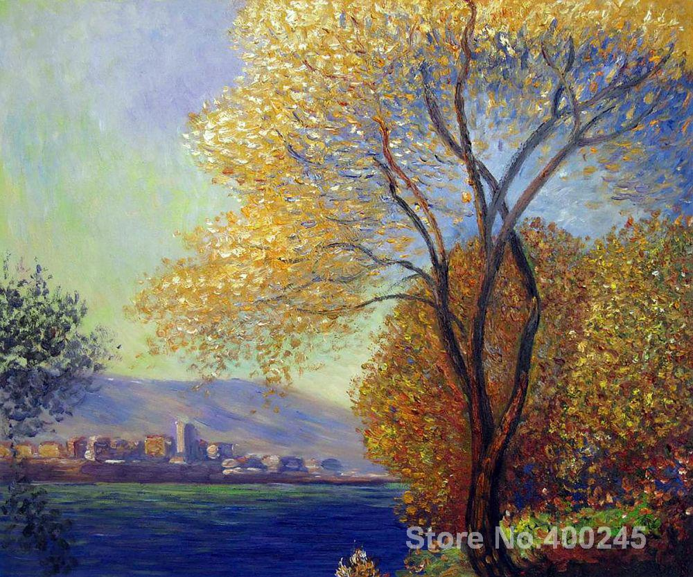 Christmas Gift art on Canvas Antibes View of Salis by Claude Monet Painting High Quality Handmade
