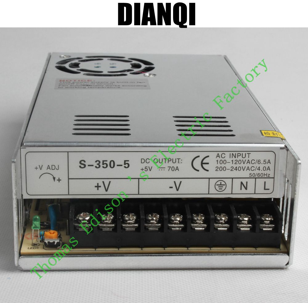 DIANQI High Quality Power Supply 5V 350W AC to DC Power Supply AC DC Converter S-350-5 s 350 5 cooling fan ac to dc switching power supply 50a 5v power supply 350w
