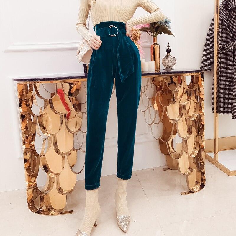 Fashion Women Sexy High Waist Slim Velour Pants Elegant Slim Velvet Pencil Pants Casual Harem pants Blue Bodycon Trousers