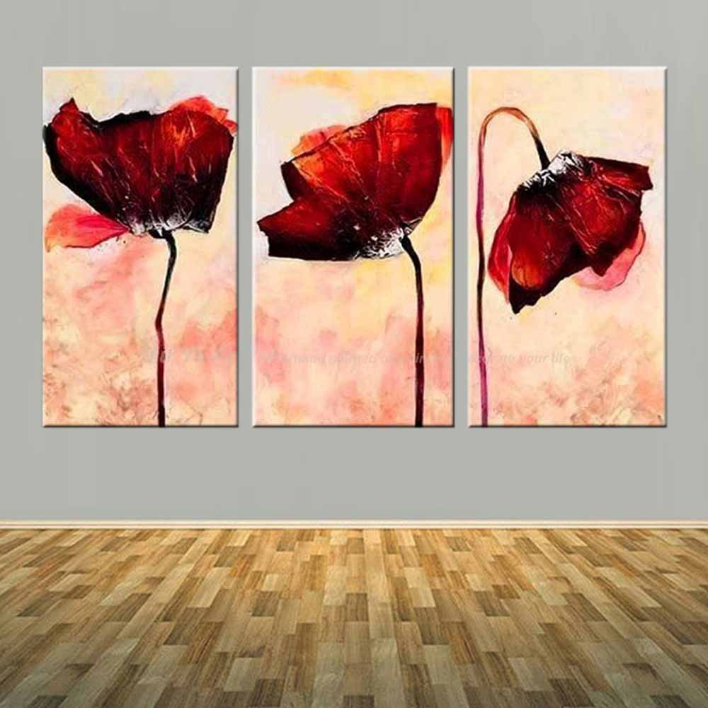 Hand Painted Abstract Three Panels Red Poppy Flower Canvas Oil