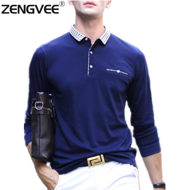 Mens Polo Shirt New Brand Men's Solid Long Sleeve Polo Shirt Autumn Full Sleeve Casual Shirt  Asian Size M-3XL