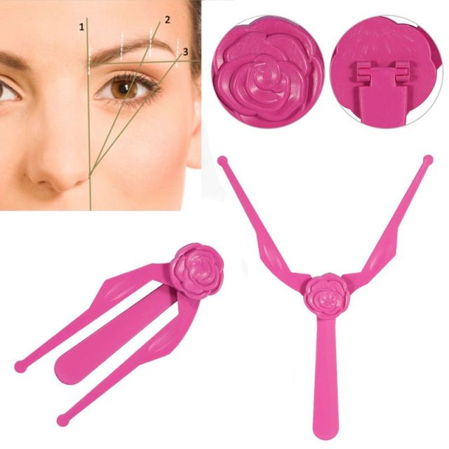 Shellhard Lightweight Eyebrow Shaper Template Symmetrical Measuring Stencil Rose Red Ruler Brow Shaping Kit 14.5x5.3cm