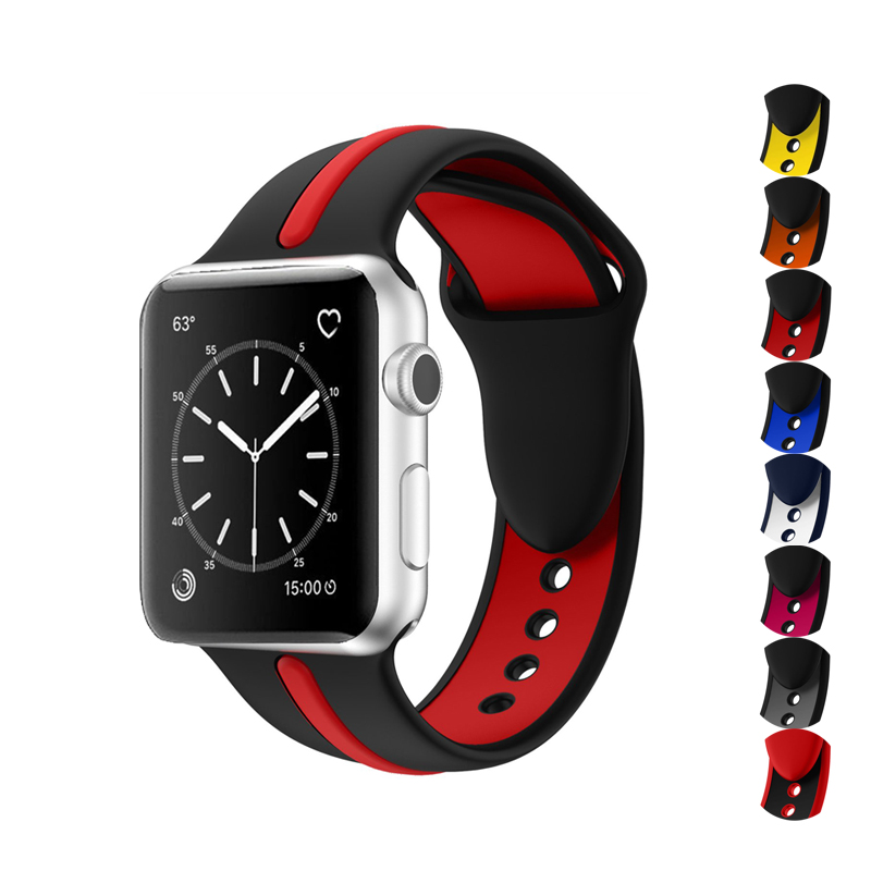 Silicone Sport Strap For Apple Watch 4 5 Band 44mm 40mm 42mm 38mm Iwatch Series 5/4/3/2/1 Bracelet Two-tone Rubber Wrist Belt