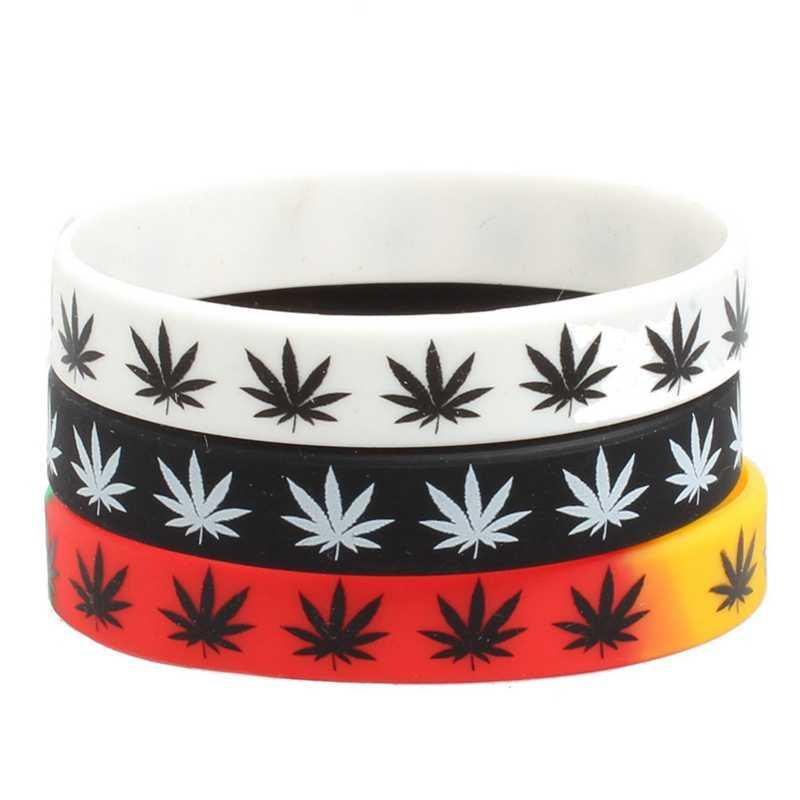 Листья ямайская трава раста регги силиконовый браслет и браслеты черный белый цвет модное украшение на запястье 2018