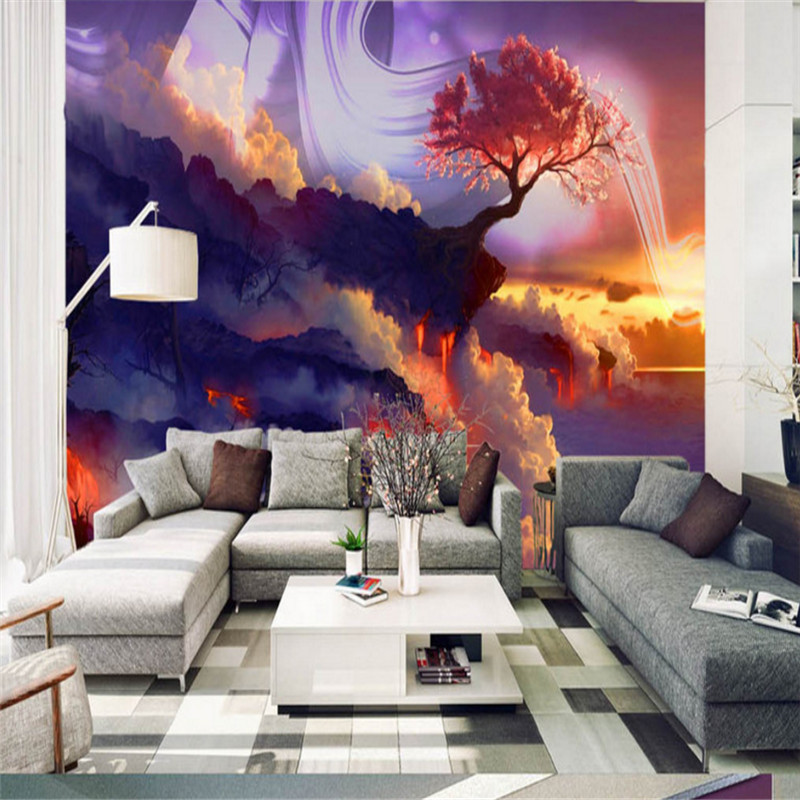 custom modern 3d photo wallpaper wall murals 3d wallpaper sunset mist fantasy background wall home decor for bediing room custom modern any size 3d photo non woven wallpaper wall murals 3d wallpaper hand painted rose tv sofa wallpaper home decor