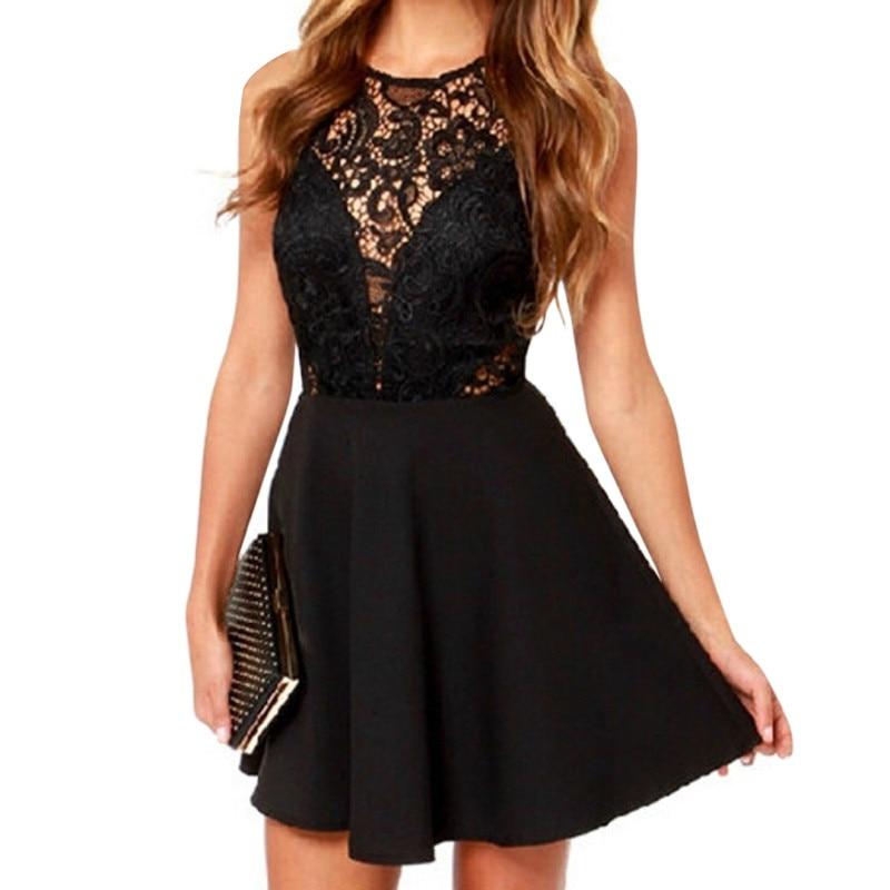 2017 Fashion Women Sexy Sleeveless Lace Dress V Back Party Dresses Hollow Out Black Mini Dress Girl Dresses