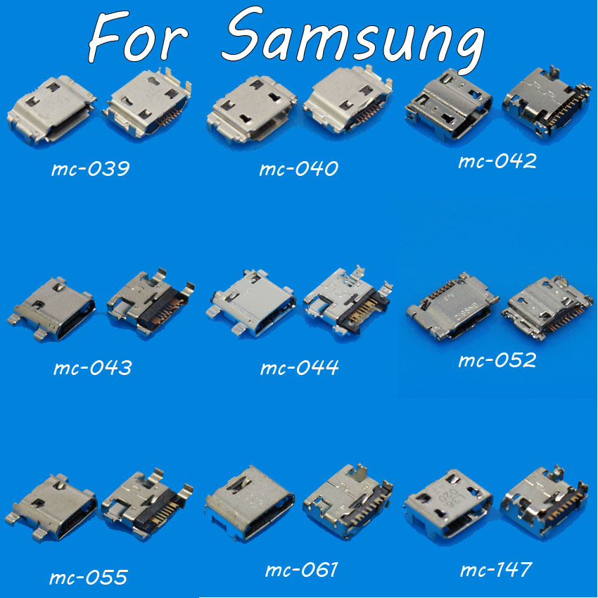 18X Mobile phone Mini Micro USB Jack connector socket Charging port for Samsung I9000 I9220 I9300  I8190 I8262D  T999 S7562C 1x 9models 5 9 6 4 7 2mm 5pin 5p smt dip micro usb tail charging connector smartphone mobile phone charging socket 5p v8 port