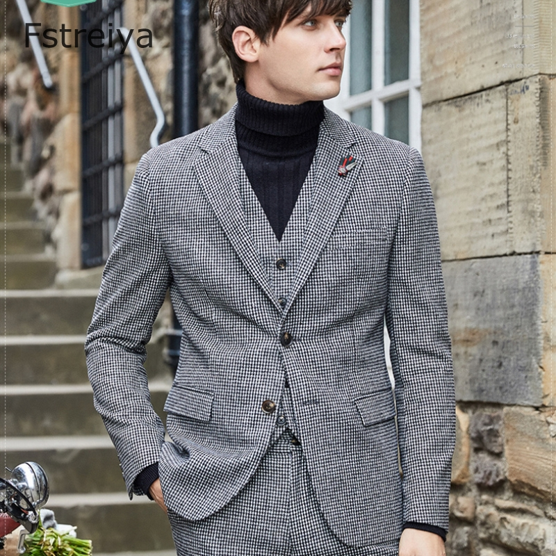 Custom made woolen houndstooth men suits with pants for wedding coustume homme tweed Business Casual suit clothes 3 pieces
