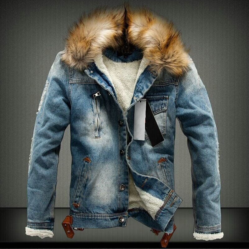 Winter New 4XL Mens Fleece Hole Denim Jacket Fashion Fur Collar Thicken Male Casual Jacket Coat Men Fit Slim Brand Clothing BF41