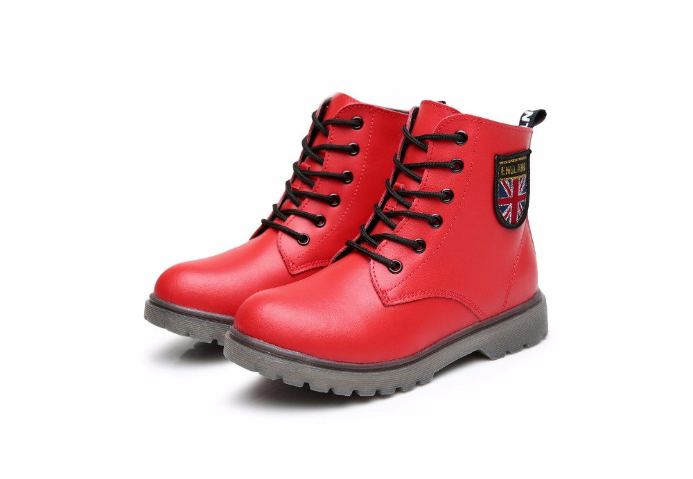 2016 Autumn new leather boots for boys girls children fashion boots kids high quality martin boots kids leather boots
