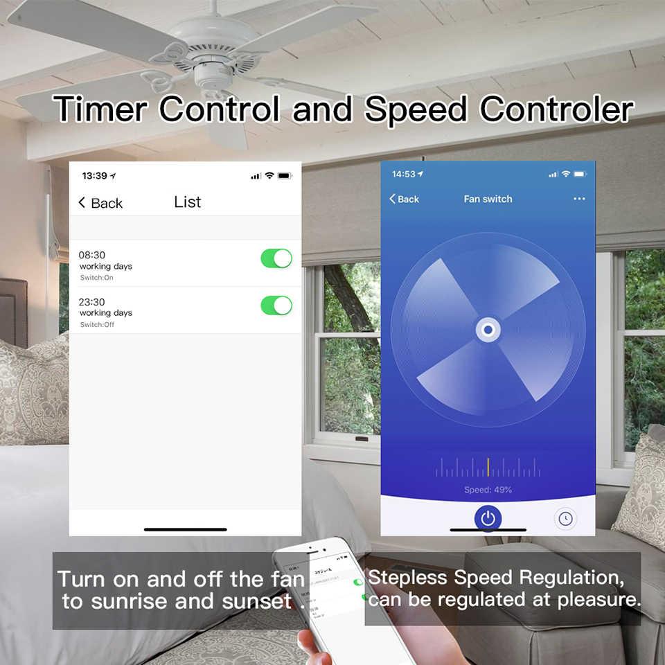 La UE/Tuya vida inteligente WiFi inteligente ventilador de techo interruptor remoto temporizador de Control de velocidad y Compatible con Alexa. Y Google