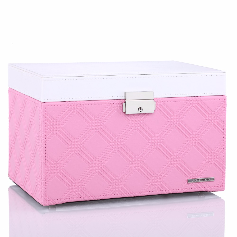 Pink large velvet jewelry storage box