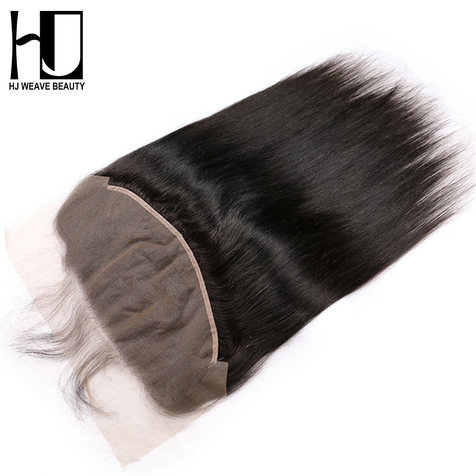 HJ WEAVE BEAUTY 13x6 Lace Frontal Brazilian Straight Pre Plucked With Baby Hair Lace Frontal Natural