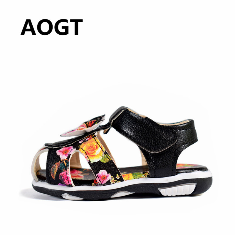 AOGT 2018 New Summer Children Girls Sandals PU Leather Bow Princess Sandals Rose Flower Kids Shoes For Girls Baby Sandals Shoes ...