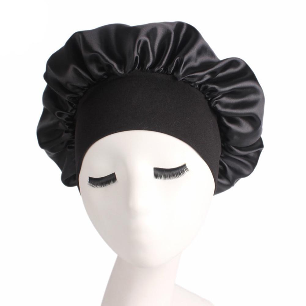 Women Salon Solid Sleeping Hat Nightcap Shower Unisex Bath Soft Chemotherapy Elastic Bonnet Satin Wide Brimmed Hair Care