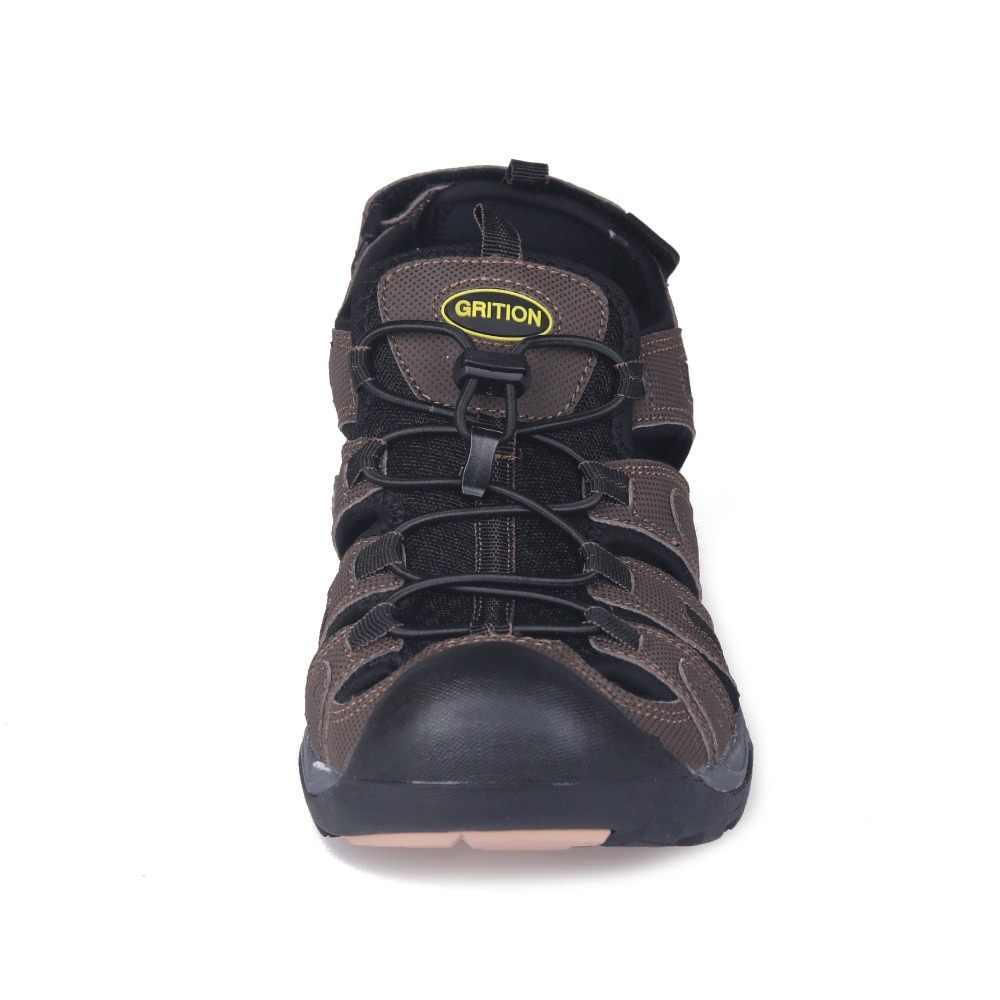 GRITION letnie męskie sandały rzymskie Gladiator blisko Toe Outdoor Sport miękkie buty skórzane biznesowe codzienne buty na plażę duże rozmiary 40-46