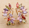 Classic Product Rainbow Garnet Amethyst Morganite Onyx Multi Gems Gold Filled Studs Earrings For Woman's Jewelry S0003